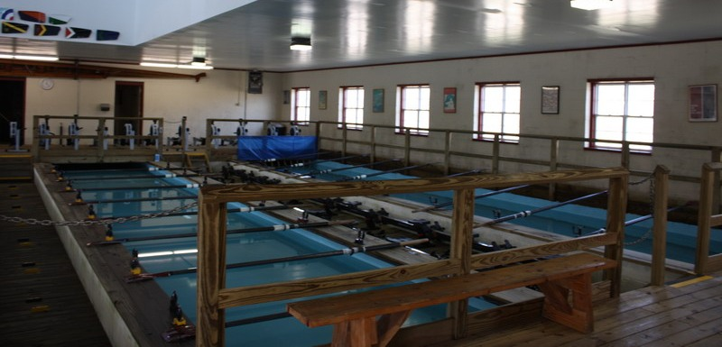 Indoor view of two rowing tanks.